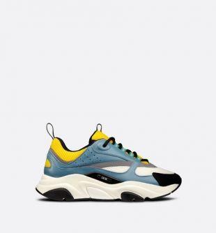 Sneaker B22 Maille technique jaune et blanche et cuir de veau bleu