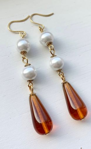 Mrs. Elton Emma Woodhouse Jane Austen Amber Teardrop Gold Floral White Pearl Beaded Regency Earrings