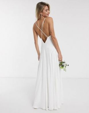Paige satin plunge wedding dress with cross back