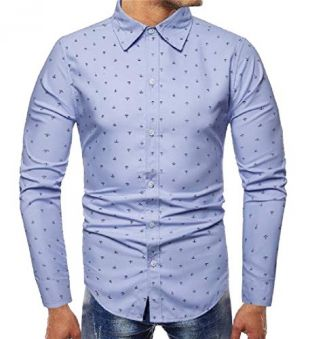 Formal Polka Dot Point Collar Shirt Long Sleeve Dress Shirt Sky Blue M