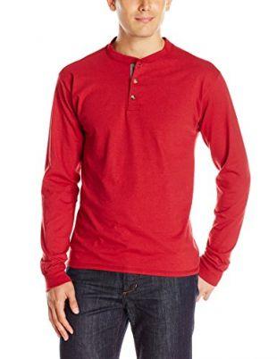Hanes Men's Long-Sleeve Beefy Henley T-Shirt - X-Large - Burnt Brick