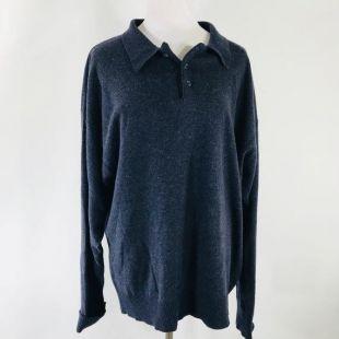 Vintage des années 90 Tommy Hilfiger charbon crête à manches longues Polo laine Cachemire mélange très doux taille XL