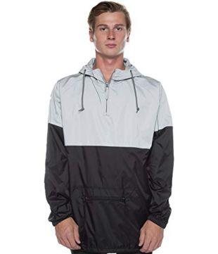 Two Tone Reflective Water Resistant 1/4 Zip Pullover Anorak Windbreaker Jacket (X-Large, Silver/Black)