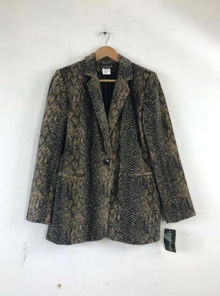 vintage Faux Fur Python Print Blazer