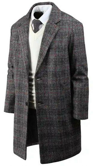Mens Stylish Modern Check Plaid Wool Over Coat Jacket Jumper Blazer Outwear W21  | eBay