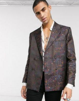 Wedding boxy double breasted blazer in maroon jacquard
