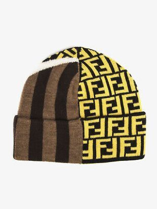 Fendi Multicoloured Wool Hat FF Logo Brown Stripes Designer Wool