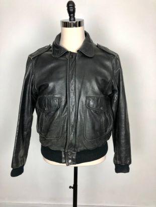 KILLER 1970s Black Leather Bomber Jacket
