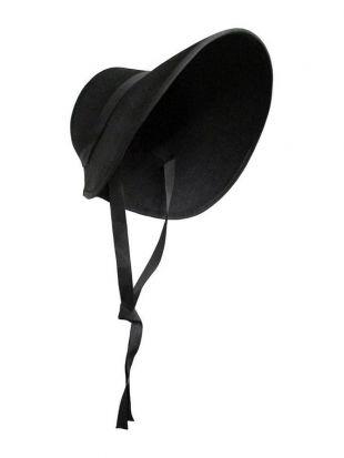 Adult Womens Girls Pilgrim Maid Pioneer Amish Quaker Puritan Felt Bonnet Handmaids Frontier Victorian Costume Hat Cosplay Accessoire