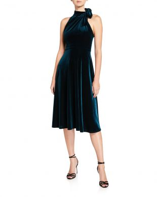 Audrey Velvet Tie-Neck Sleeveless Dress