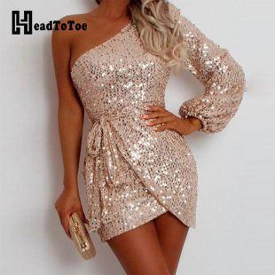 Paillettes une épaule moulante Mini robe femmes Sexy soirée Club robes courtes Vestidos De Fiesta