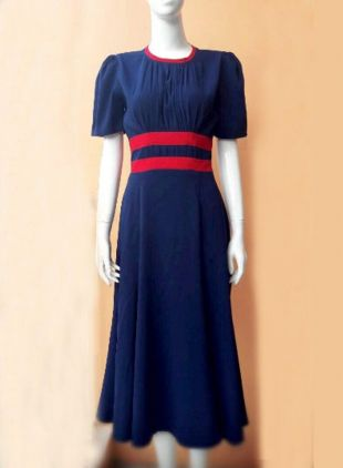 Agent Carter cosplay swing dress striped custom made blue iconic