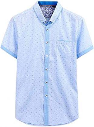 Chemise d'été à manches courtes et boutons bleue à pois