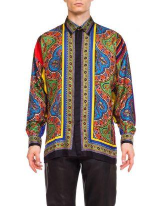 1990S Gianni Versace Silk Men's Istante Paisley Scarf Print Shirt