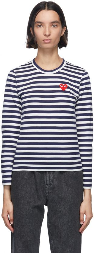 Navy & White Striped Heart Patch Long Sleeve T-Shirt