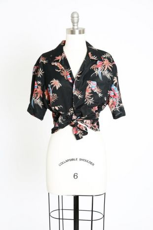 vintage des années 1950 STYLE MICHAEL GERALD Rayon Hawaiian Shirt (fr) Chemise tropicale 90s 50s Hand
