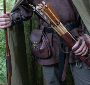 Sac LARP médiéval, poche de ceinture en cuir, Renaissance Fair Sporran - /F/ (AB)