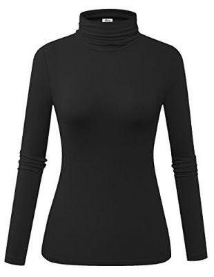 Herou Women's Long Sleeve Lightweight Soft Pullover Turtleneck Tops (01-Black, X-Large)