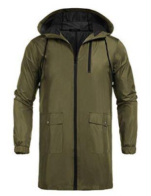 Waterproof Hooded Rain Jacket Lightweight Windproof Active Outdoor Long Raincoat (Olive Green, Large)