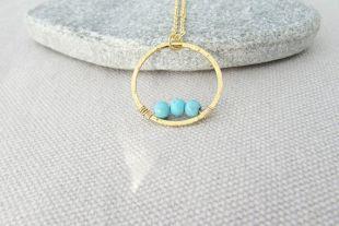 Collier turquoise Gold Ring, Turquoise Pendant, Décembre Birthstone, Ring Necklace, Turquoise Jewellery, Etsy UK, Cadeaux pour les femmes et les filles