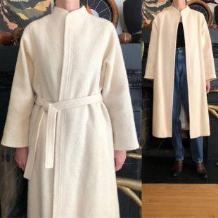 1970s vintage laine ivoire mohair ceinturé manteau wrap 60s 70s crème blanche S