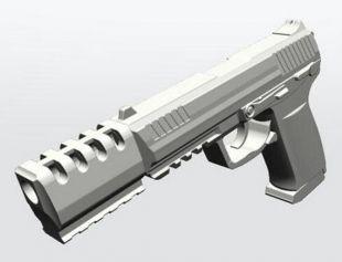 Airsoft3D J.W. Pistol Movie Prop (PE) avec compensateur amovible - Inspiré par John Wick Films - Cosplay Gun Replica