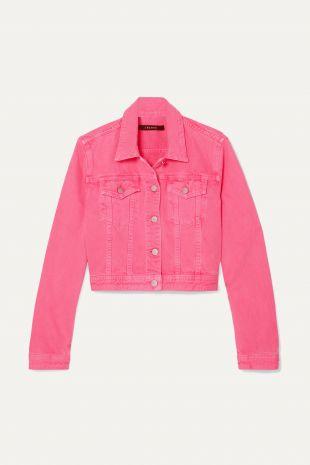 Bright Pink Cyra Oversized Cropped Denim Jacket