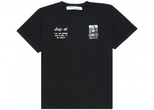 Oversized Monalisa Graphic Print T-Shirt Black/White