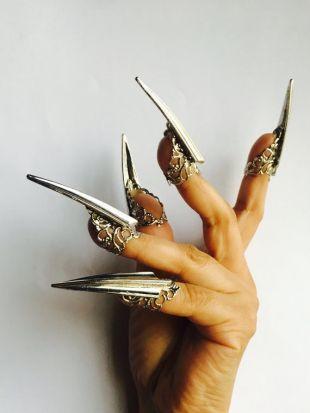 Griffes en acier, anneaux de griffe argent, gardes d'ongle en métal, anneaux de griffe, gardes d'ongle, ongles en métal, bouts d'ongle, bouts de doigt, argent, réglable, 10 Pcs.