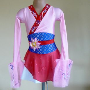 Mulan Inspiré Robe de patinage artistique -Mulan Performance Dress-Mulan Dance Costume-SENDesigne Costumes de patinage artistique