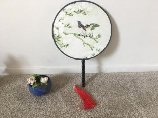 Vente en vente Authentic Famous Silk Bird Bamboo Chinois Round Fan Best Gift Wedding Mothers Birthday Best Gift