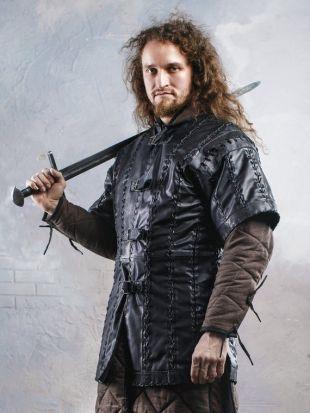 Bataille tunique en cuir noir; vêtements de corps médiéval; armure d'hommes de combat larp et cosplay; fantaisie ren faire costume guerrier; chemise sous armure