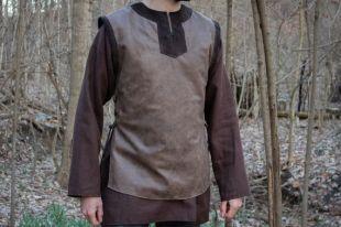 Viking Leather Tunic, Norse Dane L/XL Shirt, Black or Brown - /P/ (AB)