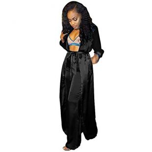 Womens 2 Piece Outfits Satin Silk Open Front Cardigan Kimono Cover-Up with Wide Leg Long Pants Set Black M