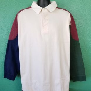 vintage 90s Colorblock Rugby Polo Green Red White White Long Sleeve Color Block Shirt Taille XL