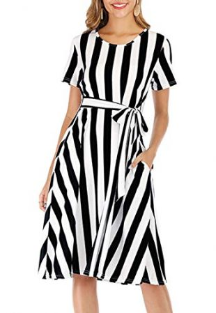 Women's Casual Short Sleeve Striped Flowy Midi Belt Dress with Pocket Black S