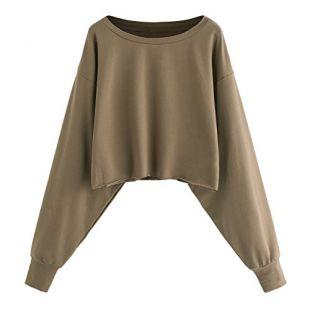 Romwe Women's Drop Shoulder Lantern Sleeve Pullover Sweatshirt Khaki L