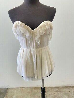 Sarah Seven crème écru volants corset Bustier Sans Manches Haut Tube Shirt  | eBay