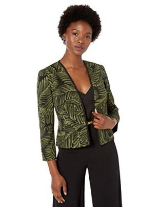 Palm Leaves Open Front Stretch Crepe Jacket, Basil/Black, 2P