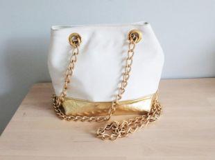 Vintage Gold Metallic White Faux Leather Long Gold Chain Shoulder Satchel Panel Evening Bag Purse