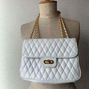 vintage Chanel style matelassé sac en cuir blanc avec poignée chaîne en or, classiques vintage blanc sac à main matelassé