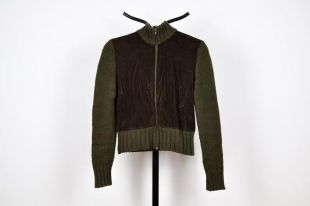 vintage Knit Green et Brown Corduroy High Neck Zip Up Cardigan Sweater