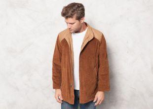 Réversible 70s Corduroy Jacket Hommes vintage années 1970 Vêtements Rétro Veste Zip Up Épaisse Veste Cordon Extérieur FieldWear Taille manteau Moyen