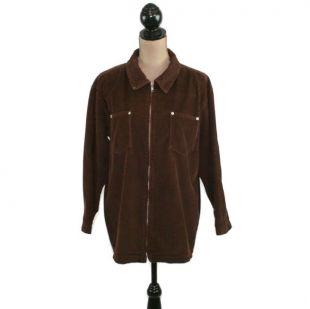 90s Brown Corduroy Jacket Femmes M/L, Manteau de corvée surdimensionné, Coton Zip Up Casual, Vêtements d'hiver d'automne, vêtements vintage de Denim & Co.