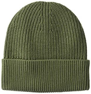 Goodthreads Men's Soft Cotton Washed Beanie, Solid Olive, one Size