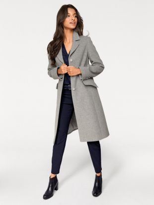Manteau uni en laine pour femme, coupe longue helline