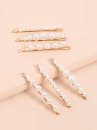 6 pièces Pince à cheveux à perles