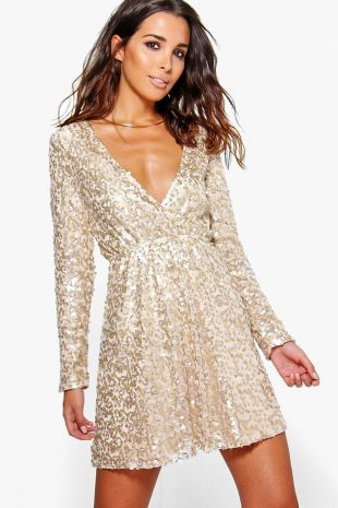 Boutique Sequin Wrap Skater Dress
