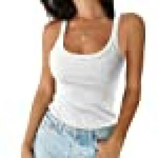 Tainehs Women's Scoop Neck Ribbed Tank Top