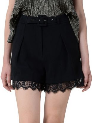 Scalloped Lace Belted Shorts